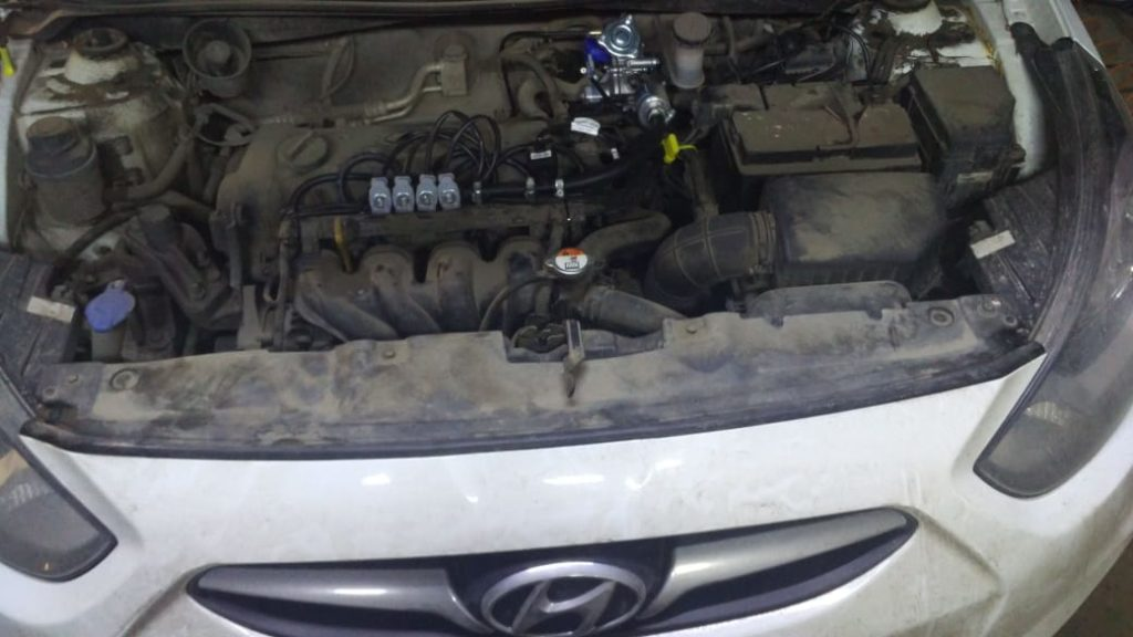 Установка ГБО Пропан на Hyundai Solaris